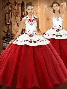 Trendy Floor Length Ball Gowns Sleeveless Wine Red Sweet 16 Dresses Lace Up