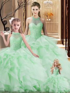 Beading and Ruffles Quince Ball Gowns Apple Green Lace Up Sleeveless Brush Train