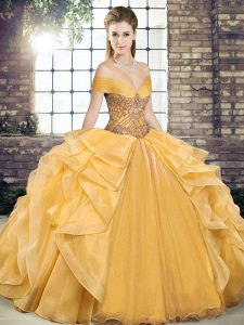Gold Organza Lace Up Quinceanera Dress Sleeveless Floor Length Beading and Ruffles