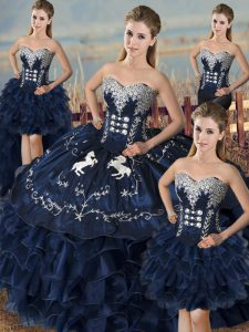 On Sale Navy Blue Ball Gowns Embroidery and Ruffles Quinceanera Dresses Lace Up Organza Sleeveless Floor Length
