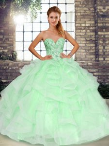 Top Selling Beading and Ruffles 15 Quinceanera Dress Apple Green Lace Up Sleeveless Floor Length