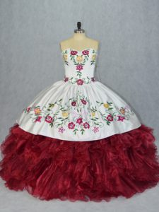 Beauteous White And Red Sleeveless Floor Length Embroidery and Ruffles Lace Up Sweet 16 Quinceanera Dress