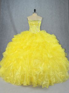 Custom Designed Yellow Lace Up Strapless Beading and Ruffles Quinceanera Gown Organza Sleeveless