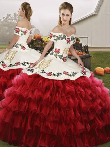 Noble Wine Red Quinceanera Dresses Military Ball and Sweet 16 and Quinceanera with Embroidery and Ruffled Layers Off The Shoulder Sleeveless Lace Up