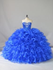 Sweetheart Sleeveless Organza Ball Gown Prom Dress Ruffles and Sequins Lace Up