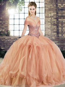 Suitable Sleeveless Beading and Ruffles Lace Up Sweet 16 Dress