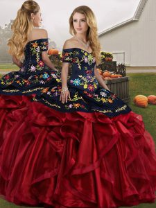 Sophisticated Off The Shoulder Sleeveless Organza 15 Quinceanera Dress Embroidery and Ruffles Lace Up