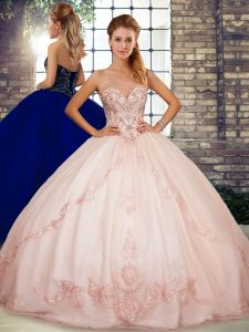 Glamorous Pink Ball Gowns Beading and Embroidery Quinceanera Gown Lace Up Tulle Sleeveless Floor Length
