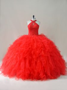 Dramatic Beading and Ruffles Ball Gown Prom Dress Red Lace Up Sleeveless Floor Length