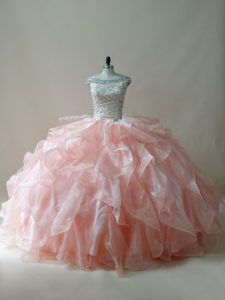 Custom Designed Peach Off The Shoulder Zipper Beading and Ruffles Quince Ball Gowns Sleeveless