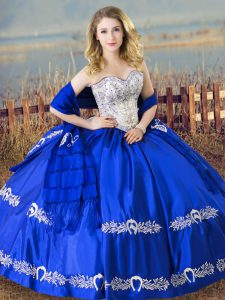 Modest Royal Blue Satin Lace Up Sweetheart Sleeveless Floor Length Quince Ball Gowns Beading and Embroidery