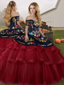 Ball Gowns Sleeveless Wine Red Quinceanera Dress Brush Train Lace Up