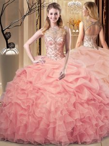 Sleeveless Organza Floor Length Lace Up Quinceanera Gowns in Peach with Beading and Ruffles and Pick Ups