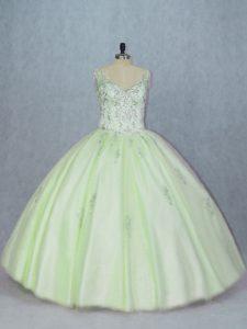 Fitting Yellow Green V-neck Neckline Beading Vestidos de Quinceanera Sleeveless Lace Up
