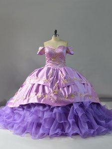 Trendy Lavender Organza Lace Up Off The Shoulder Sleeveless 15 Quinceanera Dress Chapel Train Embroidery and Ruffles