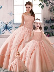 High End Peach Sleeveless Tulle Brush Train Lace Up Quinceanera Dresses for Military Ball and Sweet 16 and Quinceanera