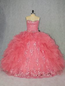 Elegant Watermelon Red Ball Gowns Organza Sweetheart Sleeveless Beading and Ruffles Floor Length Lace Up Sweet 16 Dress
