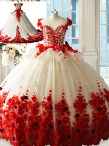 White And Red Zipper Sweet 16 Quinceanera Dress Hand Made Flower Sleeveless Brush Train
