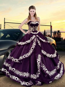 Purple Quince Ball Gowns Sweet 16 and Quinceanera with Embroidery and Ruffled Layers Sweetheart Sleeveless Lace Up
