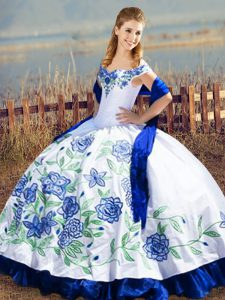 Blue And White Sleeveless Satin and Organza Lace Up Vestidos de Quinceanera for Sweet 16 and Quinceanera