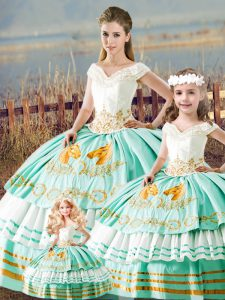 Trendy Apple Green Lace Up Sweet 16 Dresses Embroidery and Ruffled Layers Sleeveless Floor Length
