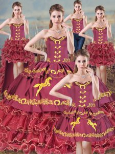 Popular Burgundy Sweet 16 Dresses Sweetheart Sleeveless Sweep Train Lace Up