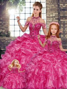 Custom Fit Sleeveless Floor Length Beading and Ruffles Lace Up Ball Gown Prom Dress with Fuchsia