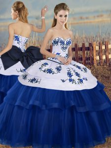 Hot Sale Royal Blue Lace Up Quinceanera Dresses Embroidery and Bowknot Sleeveless Floor Length