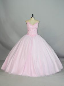Attractive Sleeveless Tulle Floor Length Lace Up Ball Gown Prom Dress in Baby Pink with Beading and Lace