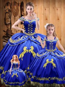 Floor Length Royal Blue 15th Birthday Dress Off The Shoulder Sleeveless Lace Up