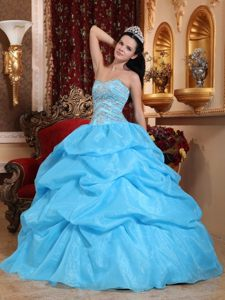 Aqua Blue Sweetheart Quinceanera Dress in Organza with Beads and Pickups