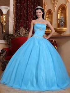 Sweetheart Tulle and Taffeta Sweet 16 Dresses with Beading in Aqua Blue Color