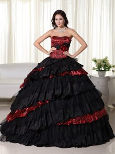 2013 Leopard Strapless Black Organza and Taffeta Quinceanera Gowns with Layers