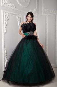 Black and Hunter Green Strapless Tulle Beaded Quinceanera Gowns with Plumes