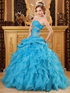 Organza Beading and Ruffles Decorated Dresses for Quince with Ruffles