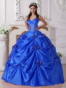 Blue Up-to-date Taffeta Quinceaneras Dress with Spaghetti Straps and Flowers