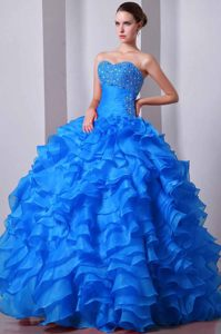 Nice Blue Ball Gown Strapless Desirable Dresses for Quinceaneras Made in Taffeta