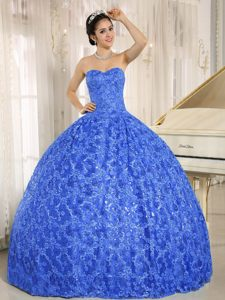 Pretentious Blue Sequined Sweetheart Lace Up Sweet 15 Dresses with Embroidery