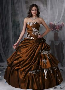 Elegant Strapless Floor-length Lace-up Taffeta Brown Quinceanera Dresses