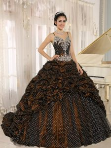 Elegant Spaghetti Floor-length Special Fabric Quinceanera Dress with Pick-ups