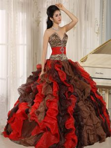 Luxurious Multi-color Organza V-neck Dresses for Quinceaneras with Ruffles