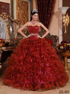 Sweetheart Ruffled Bead Burgundy Organza In fashion Dress for Quinceaneras