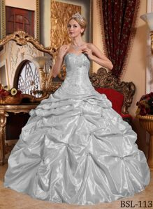 Gray Sweetheart Taffeta Embroidered Gorgeous Sweet 21 Dress with Beading