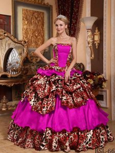 Strapless Floor-length Taffeta and Leopard Sweet 20 Dresses with Pick-ups