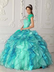Gorgeous Turquoise One Shoulder Satin and Organza Sweet 17 Dresses