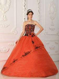 Orange Red Strapless Pretty Quinceanera Dresses in Satin and Organza