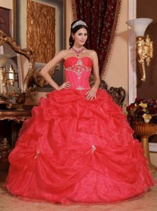 Stylish Red Sweetheart Sweet Sixteen Dresses in Organza with Pick-ups