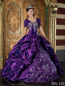 Eggplant Purple Ball Gown Quinceanera Dresses with Embroidery and Pick-ups
