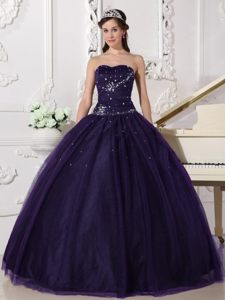 Dark Purple Ball Gown Sweetheart Quinceanera Dresses with Beading for 2014