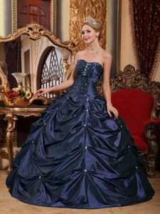 Attractive Navy Blue Ball Gown Quinceanera Dress with Beading and Pick-ups